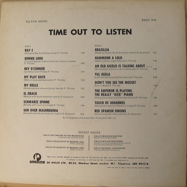 Peter Thomas / Dusko Goykovich ‎– Time Out To Listen