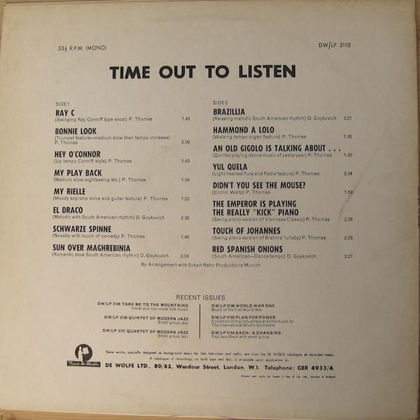 Peter Thomas / Dusko Goykovich – Time Out To Listen